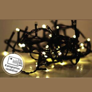 Vezérlős LED fényfüzér MELEG FEHÉR (fekete kábel)
