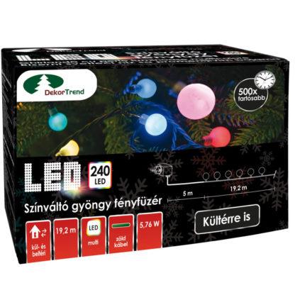 Gyöngy színváltós LED fényfüzér színes